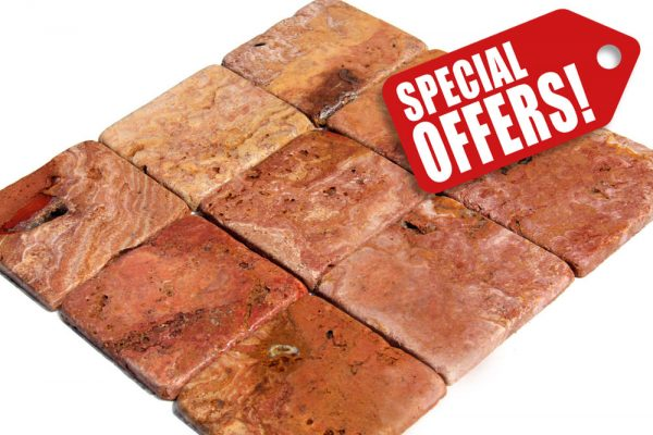 red travertine tumbled tiles sepcial offer